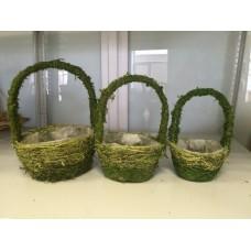 Набор корзин плетеных (мох, трава), 20х20хН30см, 17x17xH26см, 13.5x13.5xH22см (3 шт.), цвет - зеленый.