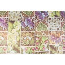 Крафт Бумага Весенние цветы, на белом 75 см x 10 м