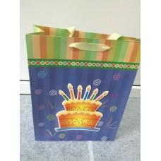 Подарочный пакет Тортик свечки, синий