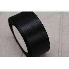 Лента атласная 3,5 см X 25 м, цвет - черный.